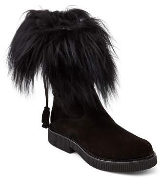 Elena Black Fur-Trimmed Lace-Back Boots