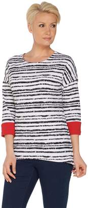 Women With Control Women with Control Striped Dropped Shoulder Top w/ Contrast Cuff