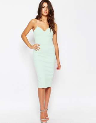 Asos Design Deep Plunge Scuba Midi Bodycon Dress