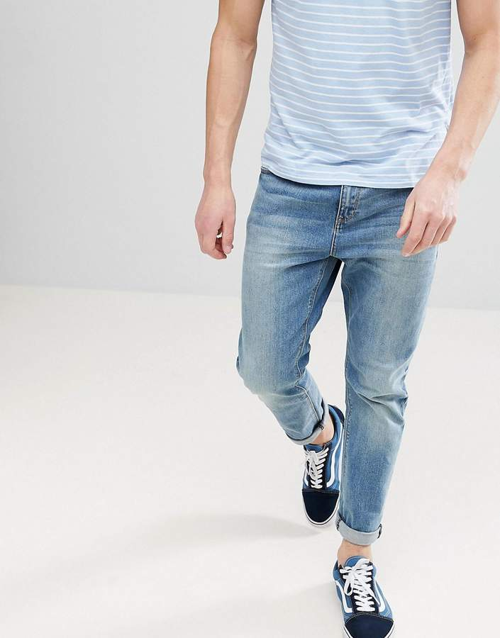 ASOS Tapered Jeans In Mid Wash