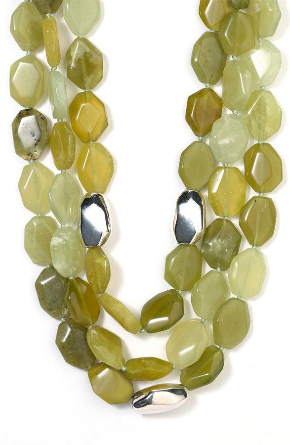 Simon Sebbag Green Jade Triple Strand Necklace
