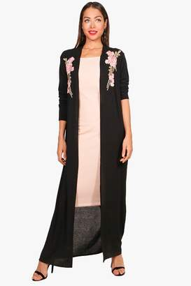 boohoo Millie Embroidered Maxi Cardigan