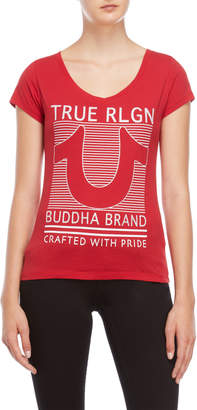 True Religion Graphic Round V-Neck Tee