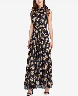 Tahari ASL Lace & Floral-Print Gown