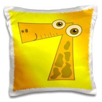 3dRose Print of Number 7 Cartoon Giraffe On Yellow orange - Pillow Case, 16 by 16-inch