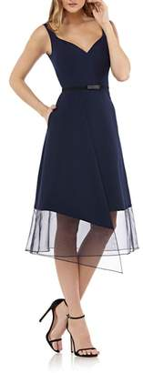Kay Unger Organza Overlay Tea Length Dress