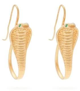 Jade Jagger 18kt Gold & Emerald Cobra Earrings - Womens - Gold