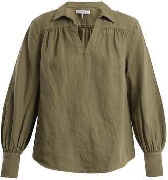 Frame Open-collar cotton-blend top