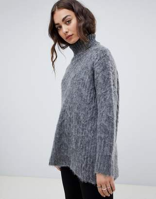 Religion fluffy knit oversized cable knit sweater with high neck