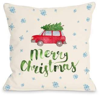 One Bella Casa Merry Christmas Car Tree - Multi 16x16 Pillow by OBC
