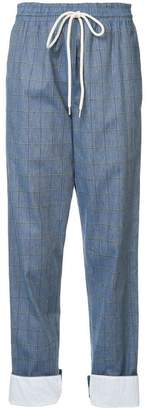 Bassike checked drawstring cropped trousers