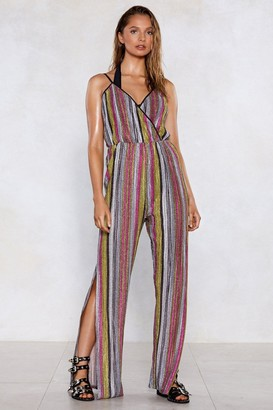 Nasty Gal You're Doing Just Shine Striped Jumpsuit