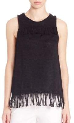 Tess Giberson Cotton Knit Weave Fringe Top
