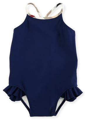 Burberry Lundy Ruffle-Trim Cross-Back Swimsuit, Navy, Size 6M-3