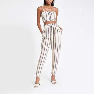 River Island Red stripe tie waist peg trousers