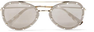 Valentino Aviator-style Crystal-embellished Gold-tone Mirrored Sunglasses - Brown