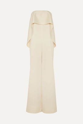 SOLACE London Cadenza Ruffled Bonded Satin Jumpsuit - Cream