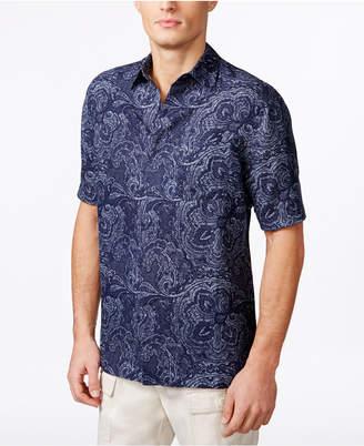 Tasso Elba Men Silk Linen Paisley Short-Sleeve Shirt