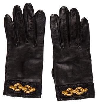 Hermes Embellished Lambskin Gloves