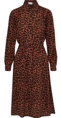 Antik Batik Gart Belted Leopard-print Silk Shirt Dress