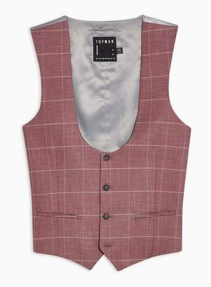 Topman Mens Pink Windowpane Check Slim Fit Suit Waistcoat