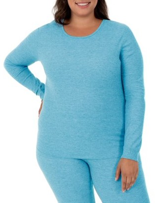 Fruit of the Loom Fit for Me by Women's and Women's Plus Size Waffle Thermal Underwear Crew Top