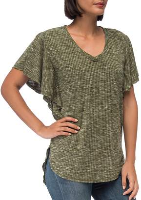 Bobeau B Collection by Mariee Flutter-Sleeve Marled Tee
