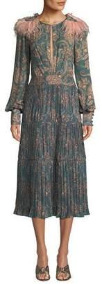 Johanna Ortiz Hechiceria Long-Sleeve Keyhole-Front Paisley-Print Pleated Silk Dress w/ Tie Back
