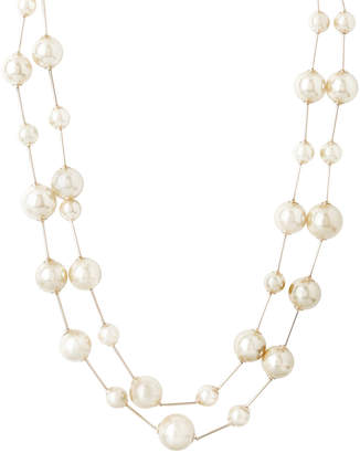 Double strand faux pearl necklace with-it gold hardwithare and lobster clasp closure gfsn8205m