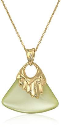Alexis Bittar Crystal Studded Pleated Ivory Pendant Necklace