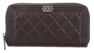 Chanel Quilted Boy L-Gusset Zip Wallet