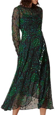 LK Bennett L.K.Bennett Roe Floaty Dress, Black/Green
