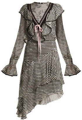 Preen by Thornton Bregazzi Corin Ruffle Trimmed Striped Silk Devore Dress - Womens - Black Stripe