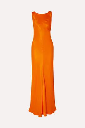 By Malene Birger Paneled Satin Maxi Dress - Bright orange