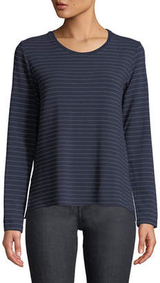 Neiman Marcus Majestic Paris for Striped Crewneck Side-Split Long-Sleeve Top