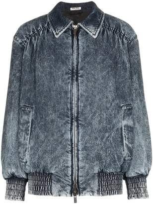 Miu Miu fitted denim bomber jacket