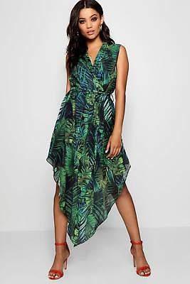 boohoo NEW Womens Plunge Palm Print Hanky Hem Shirt Dress in