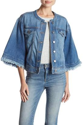 1 STATE 1.State Collarless Denim Jacket