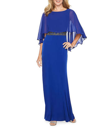 Melrose Sleeveless Beaded Cape Evening Gown