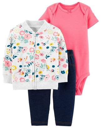 Carter's Child Of Mine By Long Sleeve Cardigan, Short Sleeve Bodysuit, and Pant Outfit Set, 3 pc set (Baby Girls)