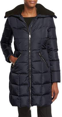 Moncler Davida Zip-Front Long-Sleeve Quilted Puffer Coat
