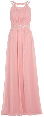 Quiz Rose Pink Chiffon Embellished Maxi Dress