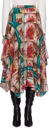 Stella McCartney Floral photographic print drape silk skirt
