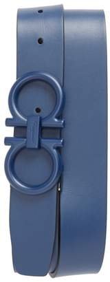 Salvatore Ferragamo Tonal Double Gancini Leather Belt