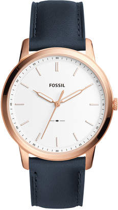 Fossil Men's The Minimalist Navy Leather Strap Watch 44mm