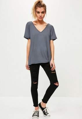 Missguided Grey Boyfriend V Neck T-Shirt