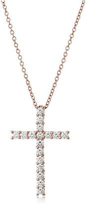 Silver Cross Yellow Gold Plated Sterling Pendant Necklace set with Swarovski Zirconia (1.53 cttw)