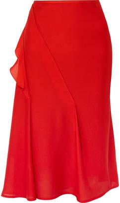 Victoria Beckham Ruffled Silk Crepe De Chine Midi Skirt - Red