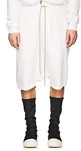 Rick Owens Men's Pod Cotton Fleece Drop-Rise Shorts - White