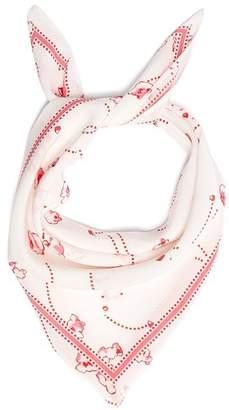 Rockins - Popcorn Print Bandana Silk Scarf - Womens - White